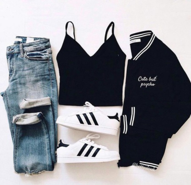 d53ab093167 jeans crop-top baseball jacket blue jeans black crop top adidas superstars  outfit outfit idea