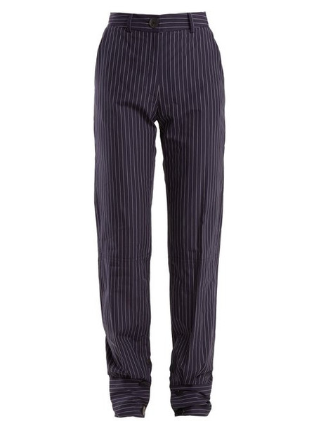 Jw Anderson - High Rise Pinstriped Cotton Trousers - Womens - Navy Stripe