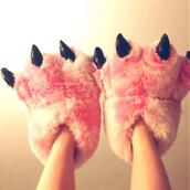shoes,pink,slippers,soft,boots,animal foot,pink shoes,pink boots,dinosaur,fluffy,monster,monster slippers,animal print,animal slippers,pink slippers,fashion,monsters,cute,girly,nightwear,shorts,toes,heeeeeeeeeeelp,guiseeeeeeeeeeeeeee,roze,pink claws,claws,pink monster slippers,pajamas,jumpsuit,cosplay,disney,costume,girl cosplay costume,zootopia,halloween costume