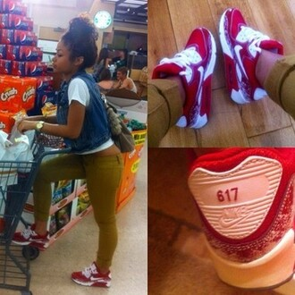 shoes sneakers nike red and white india westbrooks pants jeggings leggings