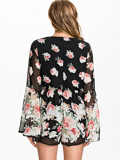 Bell Sleeve Floral Playsuit, Reverse