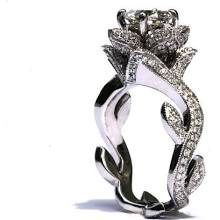 BLOOMING Work Of Art - Milgrain Flower Rose Lotus Diamond Engagement Ring - 1.75 carat - 4K white gold - brides - fL07 - Patented design