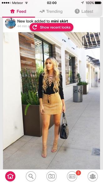 skirt beige beige skirt lace up short