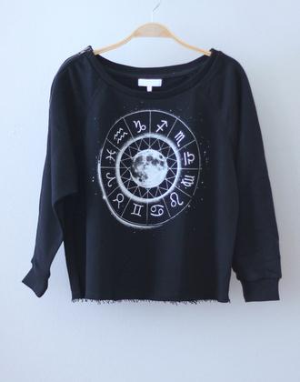 sweater crew crewneck shirt moon crewneck sweater pullover black pullover black black and white t-shirt zodiac zodiac signs astrological indie sweatshirt black sweatshirt