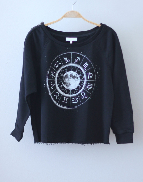 sweater crew crewneck shirt moon crewneck sweater pullover black pullover black black and white t-shirt zodiac zodiac signs astrological indie sweatshirt black sweatshirt