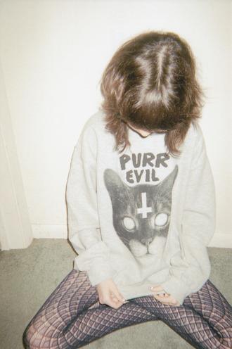 sweater grunge sweater cats tights grunge grunge girl soft grunge tumblr tumblr girl found on tumblr
