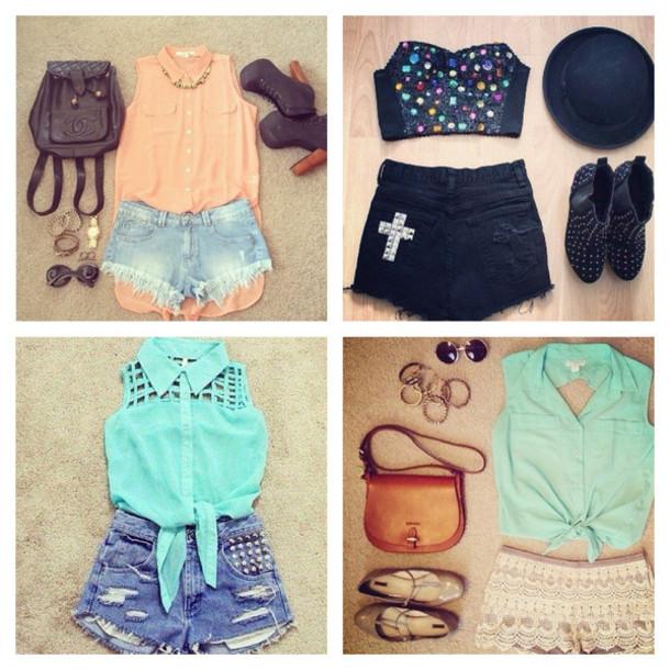shoes shorts shirt jewels bag blouse hat