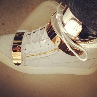 shoes giuseppe zanotti sneakers white gold