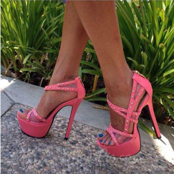 shoes strappy heels pink studded strappy heels