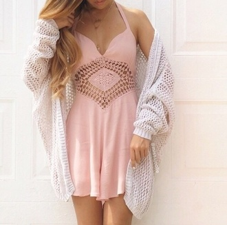 cardigan pink dress cute dress white cardigan light pink cut-out dress pink pattern summer dress romper crochet summer outfits spring outfits girly feminine fashion style sweater flowy dress cut-out dress summer cream cardigan lace cute holes