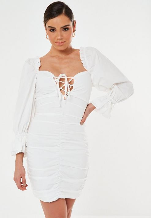 Tall White Poplin Lace Up Puff Sleeve Mini Dress