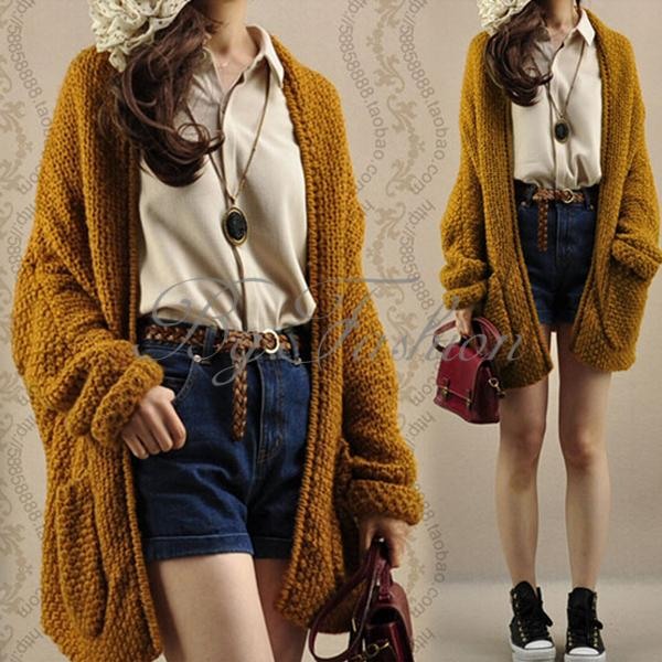 Women Oversized Loose Knitted Sweater Batwing Sleeve Tops Cardigan ...
