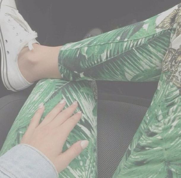 Pants: palm trees, leggings, jeans, green