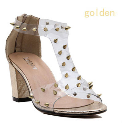 Women Pumps Rushed Shoes 2014 New Street Rock Cool Feeling Spike Rivets Thick With Sandals Transparencies Free Shipping 258 6 -in Pumps from Shoes on Aliexpress.com