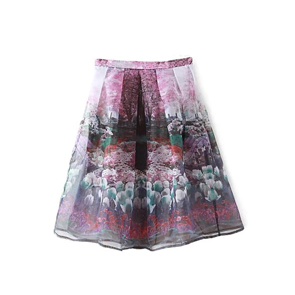 Organza Full Skirt In Garden Print