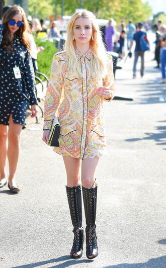 dress celebrity style celebrity mini dress floral dress long sleeves long sleeve dress boots black boots lace up boots bag emma roberts streetstyle