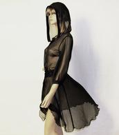 sheer,hood,black dress,dress