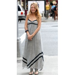 (serena vanderwoodsen) blake lively gray long formal prom dress gossip girl season 3