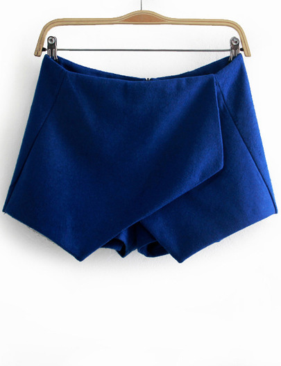Blue Asymmetrical Slim Woolen Shorts - Sheinside.com