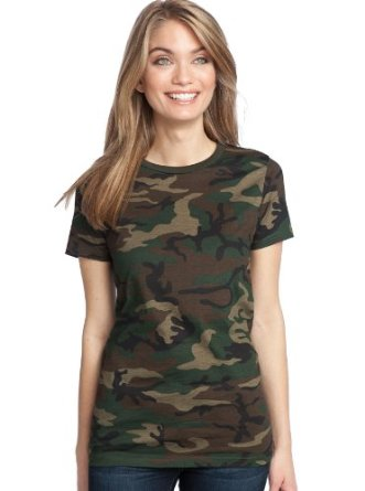District made ladies perfect weight camo crew tee for Women s crew t shirts
