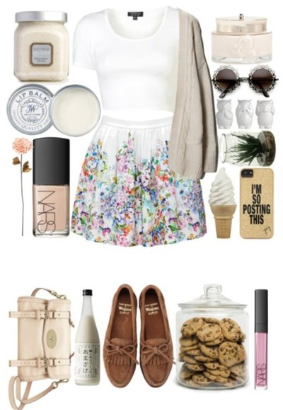 skirt purse floral sunglasses cute