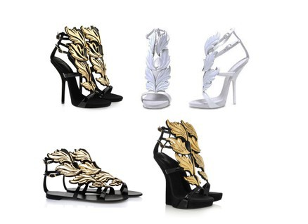 Freeshipping 2013 women wedges white Design gold leaf embellished high heel pumps wings ankle strap sandal bootie DT027 -in Pumps from Shoes on Aliexpress.com