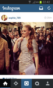 dress,striped dress,black and white,sophie turner,mini dress