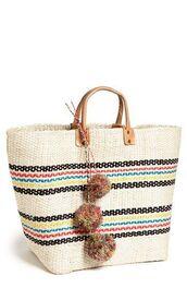bag,pompom bag,pom poms,basket bag,basket tote,beach bag,pompom basket bag