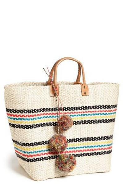 Bag: pompom bag, pom poms, basket bag, basket tote, beach bag ...
