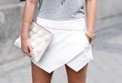 skirt,white,white skirt,irregular skirt,shorts,outfit,style,fashion