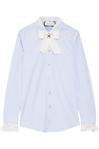 shirt bow embellished lace cotton blue sky blue top