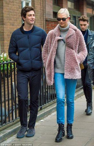 coat pink coat pink fur coat fur coat karlie kloss fuzzy coat