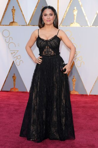 dress salma hayek oscars 2017 gown prom dress black dress red carpet dress maxi dress oscars