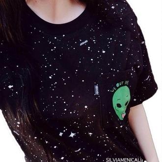 top alien black green cool cardigan t-shirt