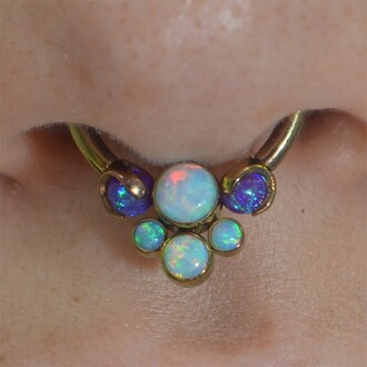 jewels nose ring opal septum piercing jewerly jewelry body moms blue iridescent beautiful