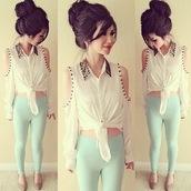shirt,long sleeves,white,studded,glitter,sequins,cold shoulder,pants