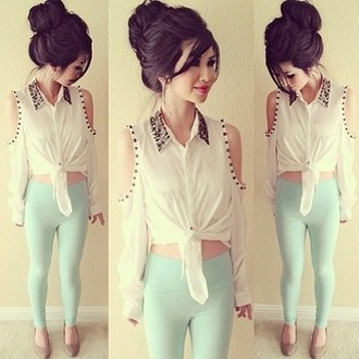 shirt long sleeves white studded glitter sequins cold shoulder pants