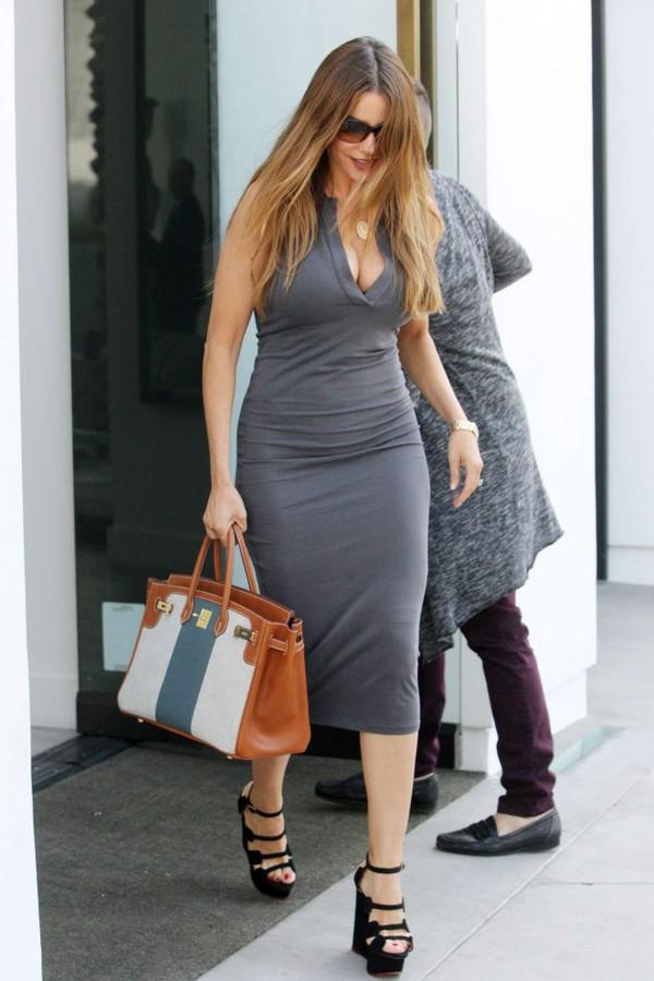 dress grey bodycon dress sandals platform sandals sunglasses purse summer dress