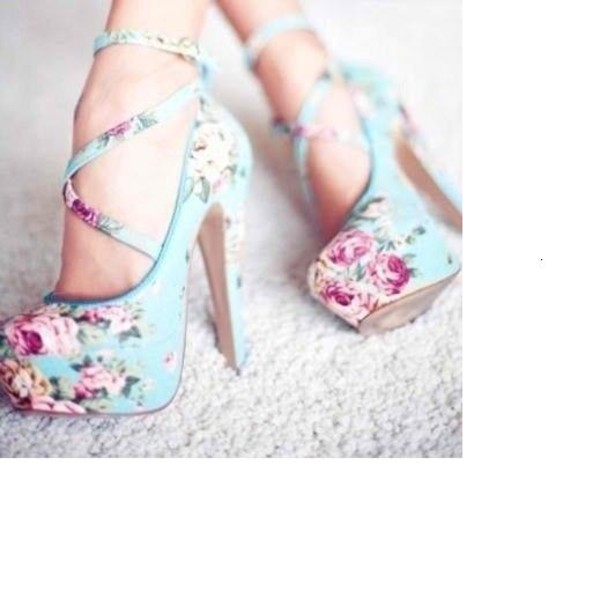 shoes heels girly floral flower high heels roses flora heels high heels bag floral heels floral high heels blue cherry blossom floral shoes cute shoes cute high heel pumps