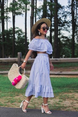 gracefullee made blogger top skirt jewels hat sunglasses bag shoes basket bag sandals two piece dress set