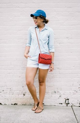 life & messy hair blogger hat shorts shirt bag shoes sunglasses jewels cap red bag blue shirt summer outfits flats sandals