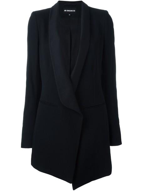 ANN DEMEULEMEESTER coat women cotton black wool