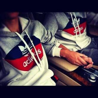 jumpsuit red hoodie grey hoodie adidas grey top grey blue