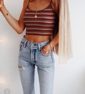 top,lines,red,black,belly top,summer,shirt,crop tops