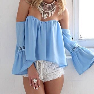 boho boho shirt blue shirt shirt romper blue shorts peasant top blouse baby blue dress off the shoulder top off shoulder blouse lace top flowy top white off the shoulder long sleeves lace cute pretty top haute rogue blue blouse blue top cropped off the shoulder black top boho top