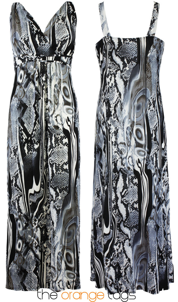dress long dress women laides girl black and white evening dress maxi dress print tropical snake print cute summer spring pluz size trendy casual psychedelic