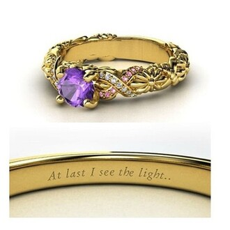 jewels tangled ring gold purple princess ring at last i see the light cute rapunzel