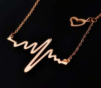 jewels necklace gold heartbeat rose gold heart love pendant
