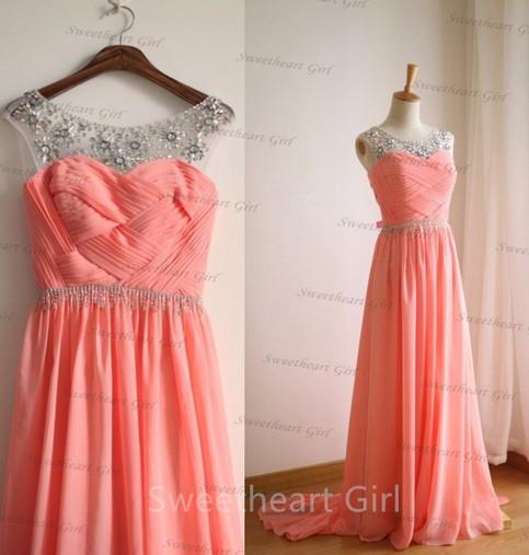 Line round neckline rhinestone chiffon long prom dresses, evening dresses