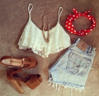 crop tops lace top white top tank top thick heel denim shorts pumps brown shoes statement necklace cami top